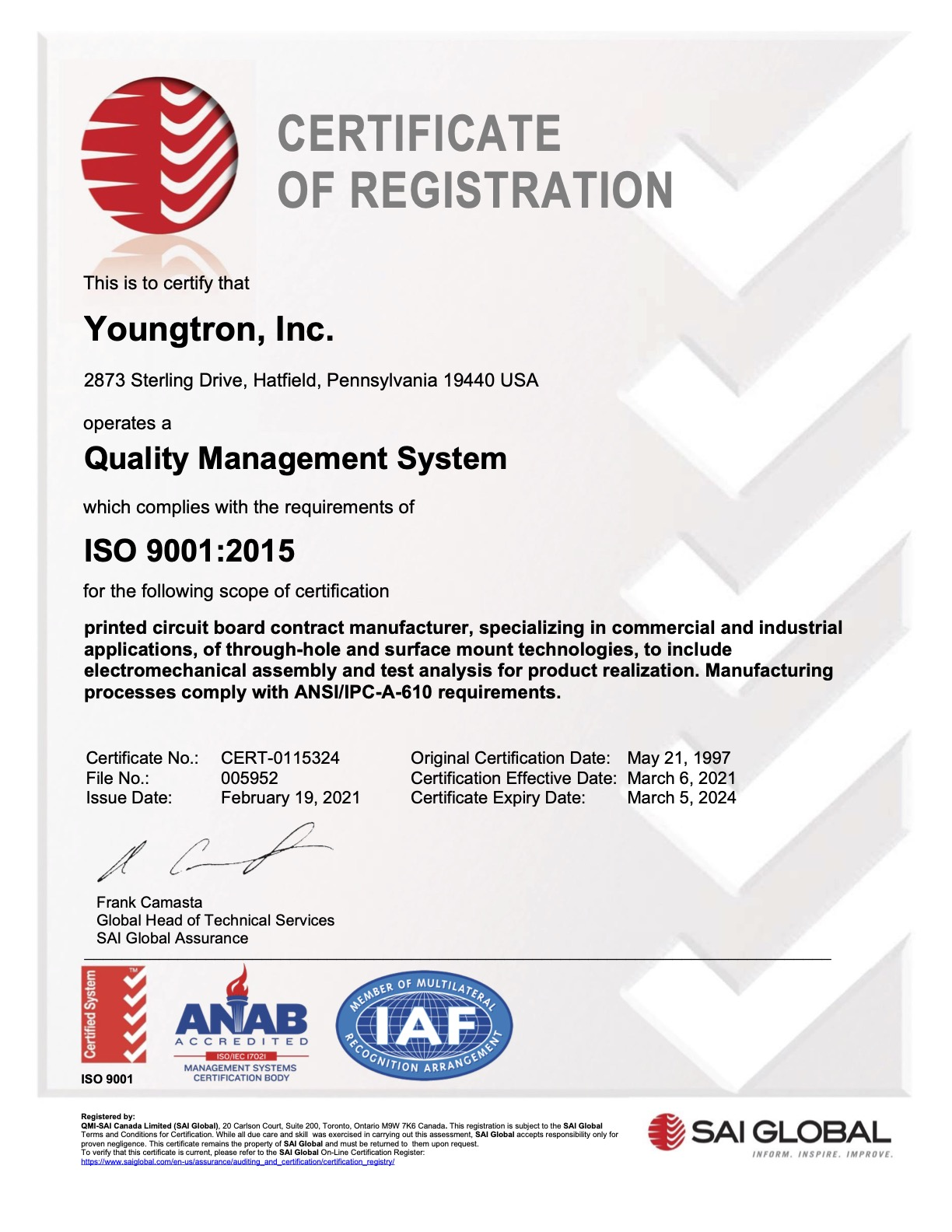 Youngtron Certificate ISO 9001
